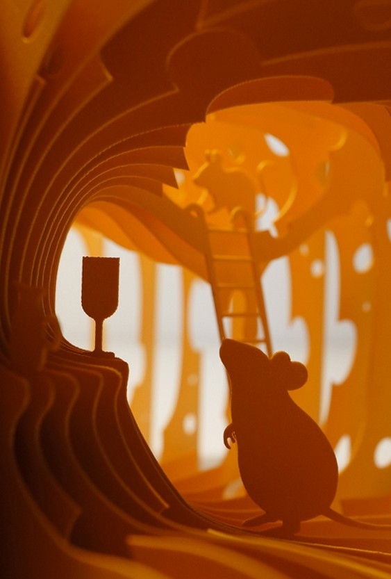 Ratinho faz a festa em painéis de diorama tridimensional