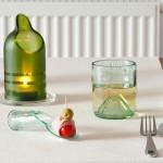 Transforme garrafas de vinho em castiçal, copo e colher de vidro