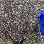 10.000 ovos de Páscoa coloridos decoram árvore no jardim