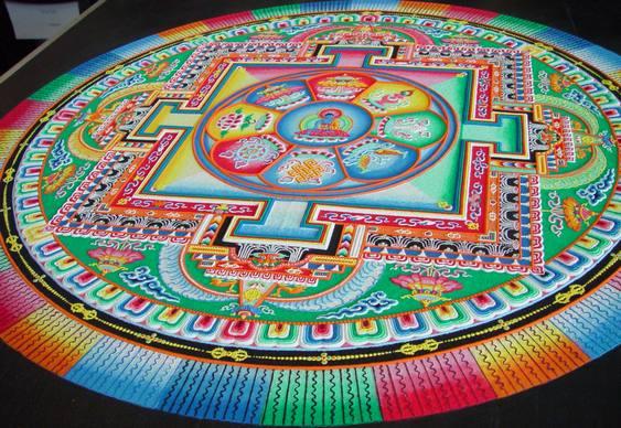 Arte com grãos de areia colorida