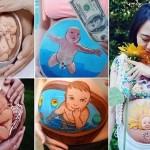 Mãe artista pinta na própria barriga o seu 'diário de gravidez'