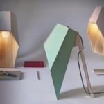 Luminárias de madeira sextavada para mesa em tons pastéis
