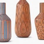 Vasos decorativos modelados com lápis de cor e de grafite