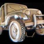Fivela de cinto para jipeiros com réplica 3D de Jeep Willys CJ5