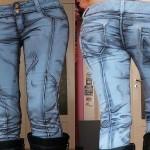Calça jeans pintada como se saísse das histórias em quadrinhos