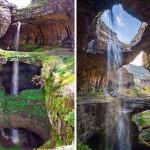 Cachoeira mergulha 250 m na Caverna das Três Pontes no Líbano