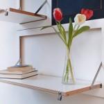 Sistema modular de estantes dobráveis para espaços apertados
