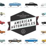 Poster sensacional com 100 automóveis clássicos norte-americanos