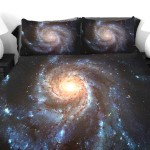 Roupas de cama de cetim decoradas com estampas astronômicas