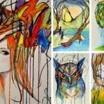 Mãe artista completa rabiscos da filha de 2 anos com aquarelas