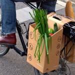 Caixa de papelão substitui saco plástico em compras com bike