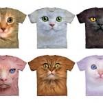 Camisetas unissex com estampas grandes e realistas de gatos