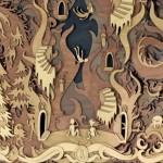 O mundo dos sonhos entalhado em 3D num painel de madeira