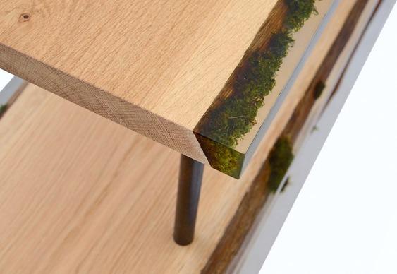 Prateleiras de madeira com musgo encapsulado em resina