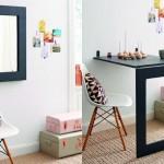 Mesa reversível em espelho de parede por economia de espaço