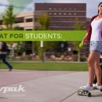 Empresa brasileira Movpak inventa mochila com skate elétrico