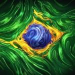 Bandeira do Brasil numa surrealista ilustração gráfica em 2D