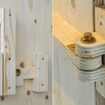 Móveis rústicos com trincos e dobradiças de madeira