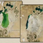 Mar de Aral na Ásia Central seca e vira um deserto com poças