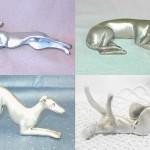 Esculturas de cachorros em pewter, a 'prata' que não escurece