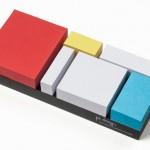 Pintura geométrica de Mondrian em blocos de recados autoadesivos