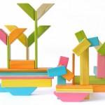 Jogos educativos com blocos magnéticos de madeira para montar