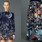 Astros e constelações de estrelas nas estampas da moda espacial
