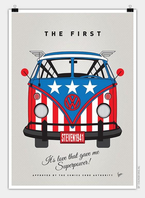 VW Bus Captain America