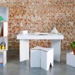 Móveis de papelão para escritórios temporários e stands de feiras