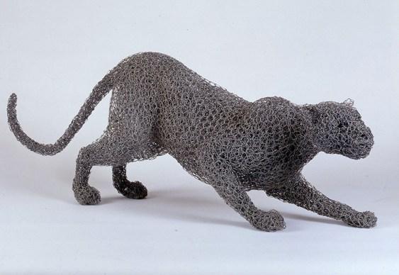 Leopardo com tela de arame