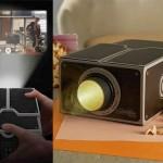 Projetor de filmes para smartphones de papelão reciclável