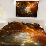 Edredons estampados com galáxias e constelações de estrelas