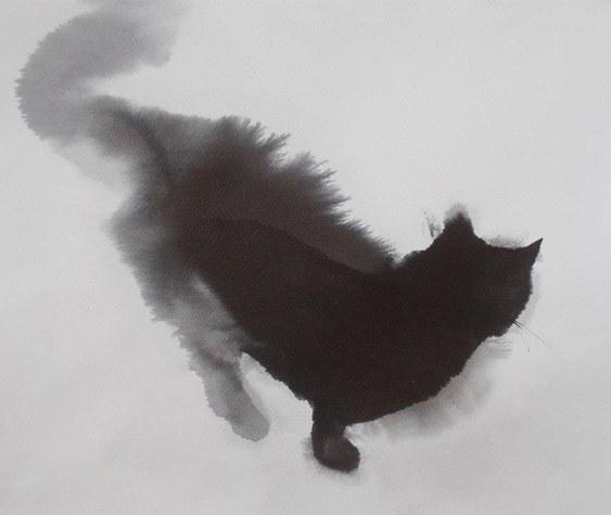 Aquarela de gato preto