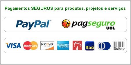 Pagamentos seguros com cartão de crédito, boleto bancário, PayPal e PagSeguro