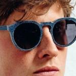 Jeans reciclado como armação para óculos de sol