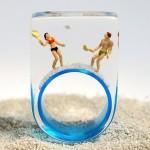 Prática de esportes e lazer encapsulados em anéis de resina