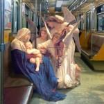 Personagens da pintura clássica em ambientes da vida moderna