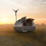 Trailer Ecocápsula com geração de energia eólica e solar