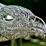 Escultura de águia em arame de aço inoxidável soldado