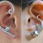 Brincos ear cuff de pressão com gatos para encaixe na orelha