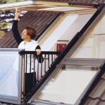 Claraboia para telhado de chalé reversível numa varanda