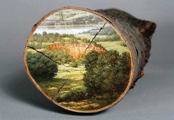 Arte com galhos de árvores