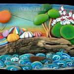 Marinas para casa de praia com pedras pintadas e madeira reciclada