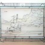 Quadros com paisagens e gueixa desenhados em 3D com arame