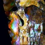 Caveira entalhada numa concha iridescente de abalone