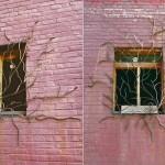 Grade de ferro para janela como hera subindo pela parede