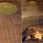 OVNI lança feixes de energia para iluminar batismo de Jesus