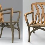 Árvores cultivadas com a forma final de cadeiras e mesas
