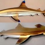 Tubarões de metal decoram casas de praia e negócios no litoral