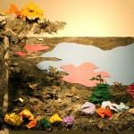 Painel forma paisagem 3D com chapas de metal em camadas